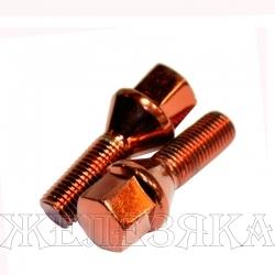 Болт колеса М12х1.25/28 конус ключ 17 красный хром(остаток 2шт)