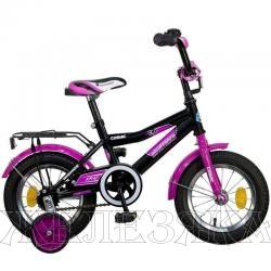 """Велосипед 12"""" NOVATRACK COSMIC черный тормоз нож. крылья багажник хром"""