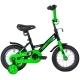 "Велосипед 12""NOVATRACK STRIKE чёрный-зелёный тормоз нож. корот.крылья"